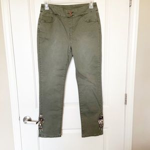 SOFT SURROUNDINGS•Olive Green Casual Jewel Pants